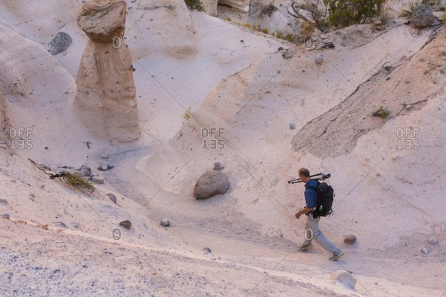 High angle view of photographer through Kasha-Katuwe Tent Rocks National Monument