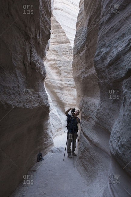 Photographer taking pictures at Kasha-Katuwe Tent Rocks National Monument