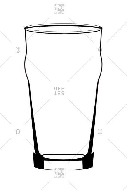 Still life of empty beer glass against white background