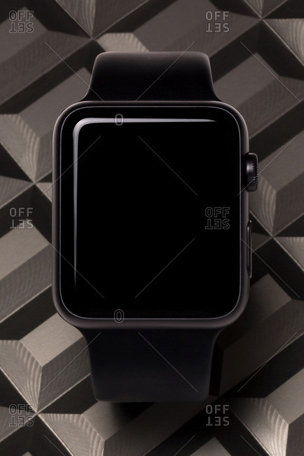 Smart watch with brown patterned background