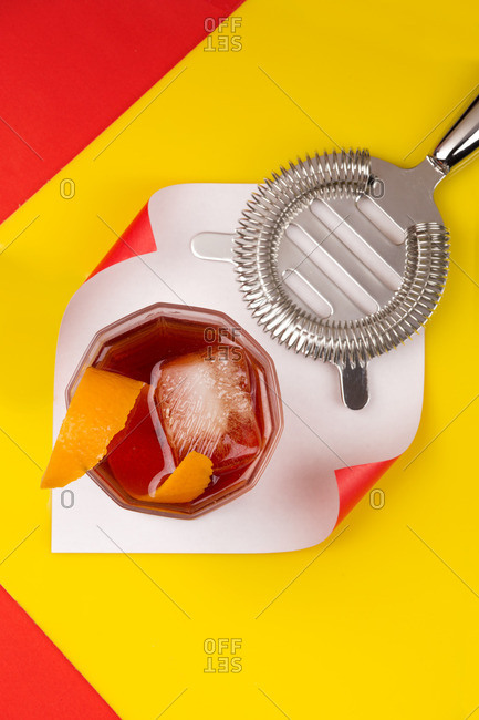 Still life of Negroni cocktail with strainer