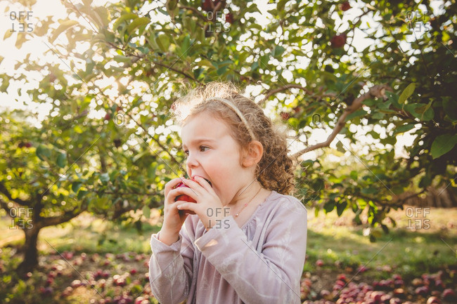 Girl eating bite of fresh picked apple