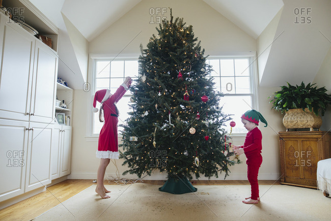 Brother and sister decorating a family Christmas tree