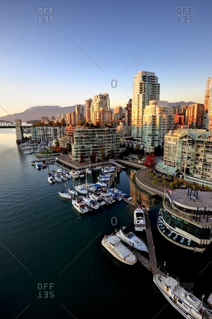 October 8, 2009: The West End neighbourhood of Vancouver and the Burrard Street Bridge across False creek, Vancouver British Columbia Canada.