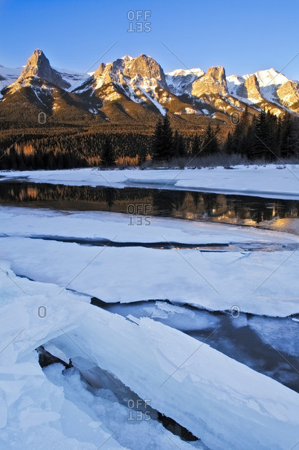 East End of Mount Rundle and the Bow River near Banff National Park, Alberta, Canada