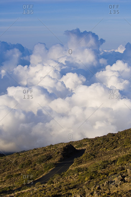 Road and clouds viewed from Haleakal? volcano rooad, Maui, Hawaii, United States