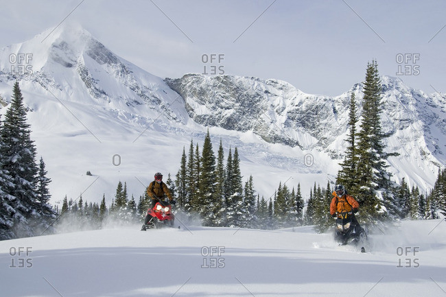 A pair of snowmobilers make fresh tracks in the powder of the Monashee Mountains, in the North Thompson region near Valemount, British Columbia, Canada