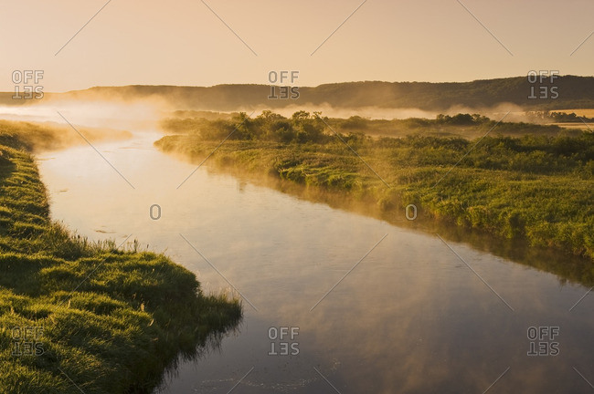 morning mist along the Qu�Appelle  River, Qu�Appelle  River Valley , Saskatchewan, Canada