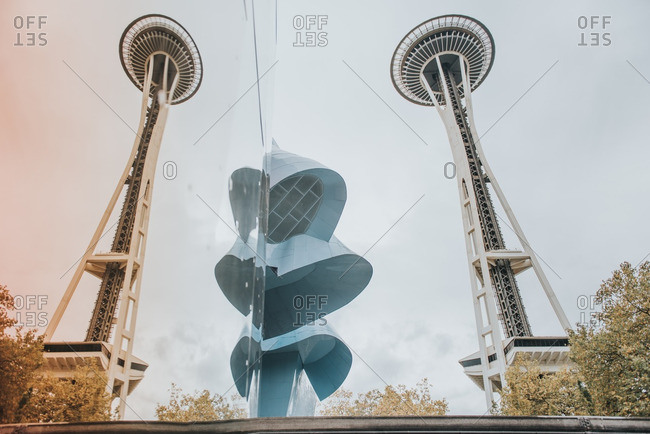 Seattle, Washington - October 9, 2016: Space Needle reflected in glass