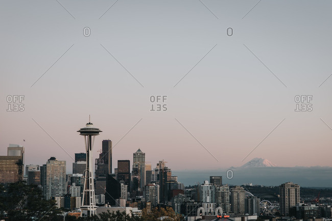 Cityscape of Seattle at low light