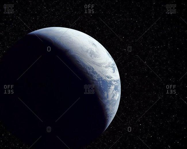 Computer-enhanced Apollo 4 view of crescent Earth