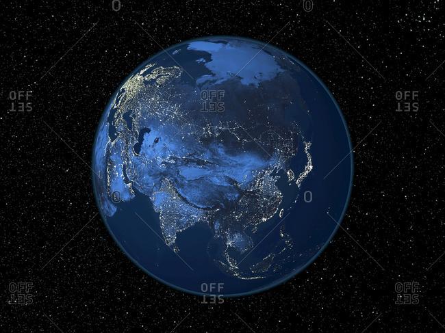Asia at night, satellite image