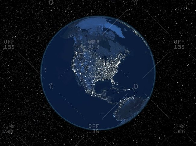 North America at night, satellite image