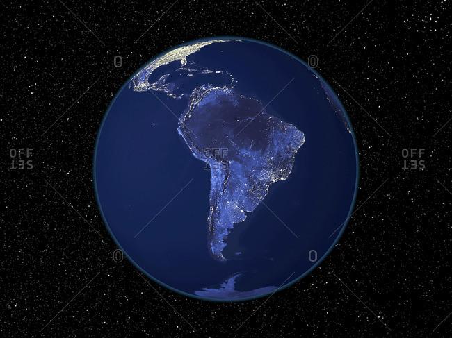 South America at night, satellite image