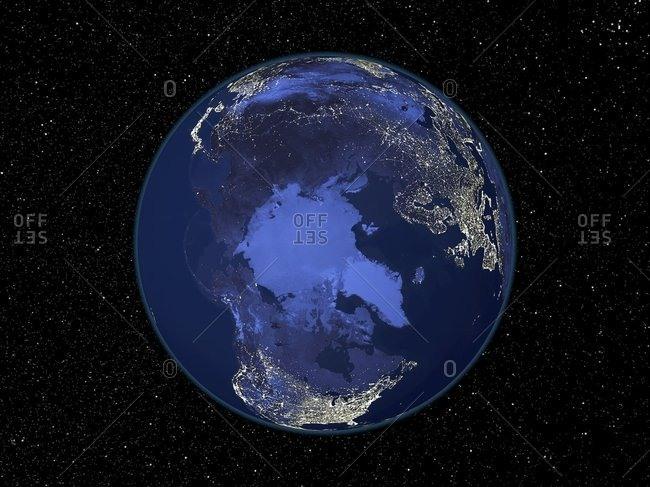 The Arctic at night, satellite image