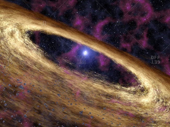 Planetary disc around a pulsar, artwork