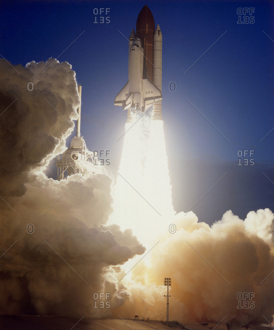 Space Shuttle Columbia clears the tower seconds after launch on Mission STS-32 on 9 January 1990