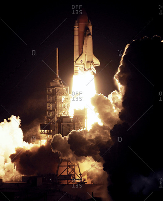 Space Shuttle Discovery launching from the Kennedy Space Center, Florida, USA, on 9 December 2006