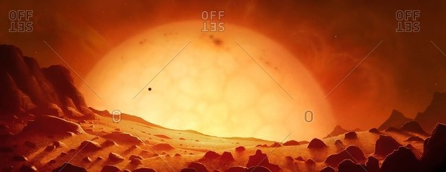 Future red giant Sun, artwork
