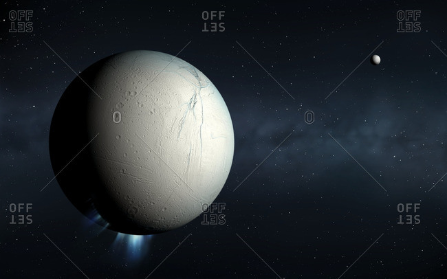 Plumes erupting from Enceladus