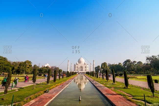 Agra, India - March 13, 2014: Taj Mahal and reflecting pool, Agra, India