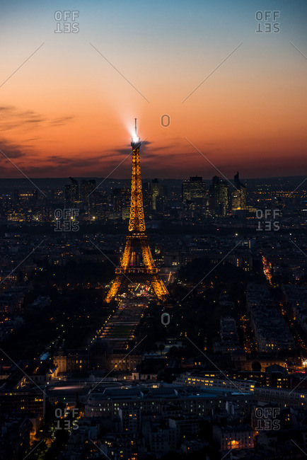 Paris, France - October 4, 2016: View of the Eiffel Tower at night