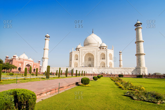 Agra, India - March 13, 2014: Taj Mahal and garden in Agra, India