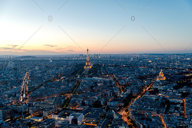 Paris, France - October 4, 2016: View of Paris with the Eiffel Tower in the distance