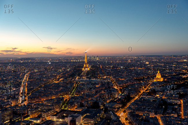 Paris, France - October 4, 2016: Paris with the Eiffel Tower illuminated at night