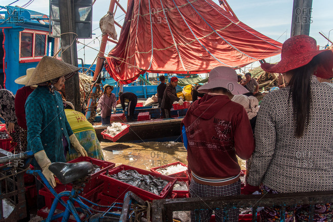 Nha Trang, Vietnam - September 6, 2016: Seafood market in Nha Trang, Vietnam