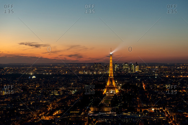 Paris, France - October 4, 2016: View of the Eiffel Tower at sunset