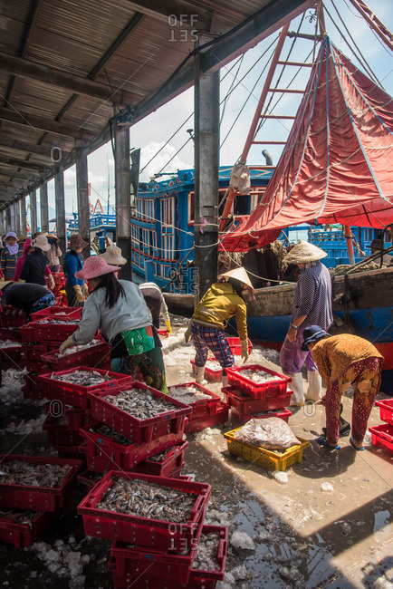 Nha Trang, Vietnam - September 6, 2016: People shopping at the seafood market in Nha Trang, Vietnam