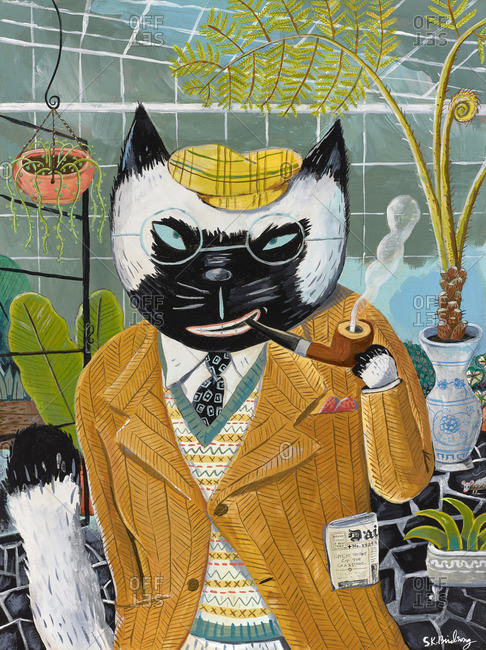 Cat wearing a suit and smoking a pipe in conservatory