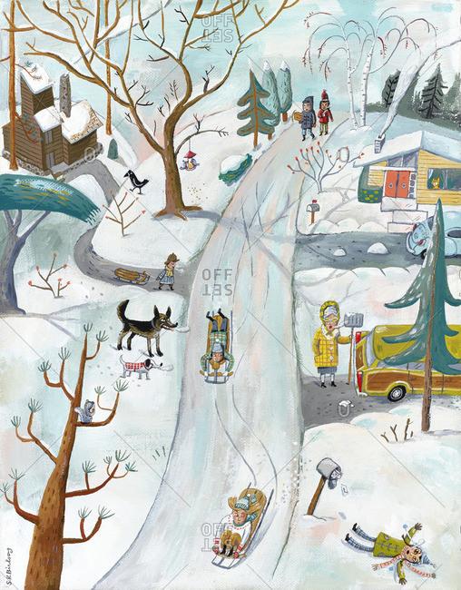 Children sledding down an icy street