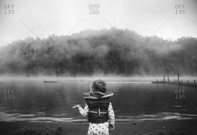 Toddler girl on edge of misty lake