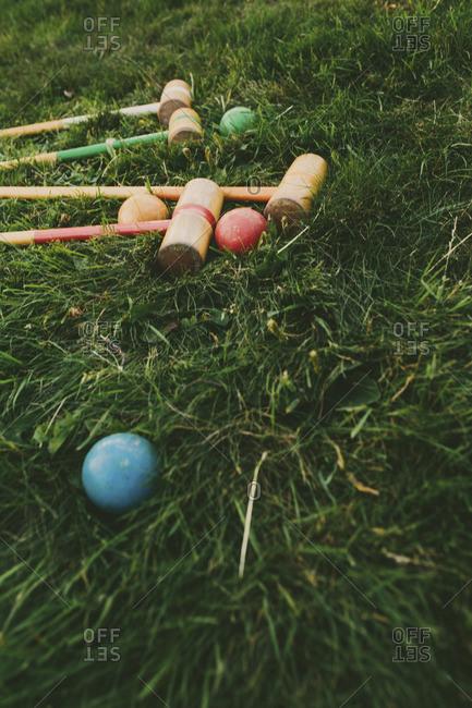Croquet equipment on green grass