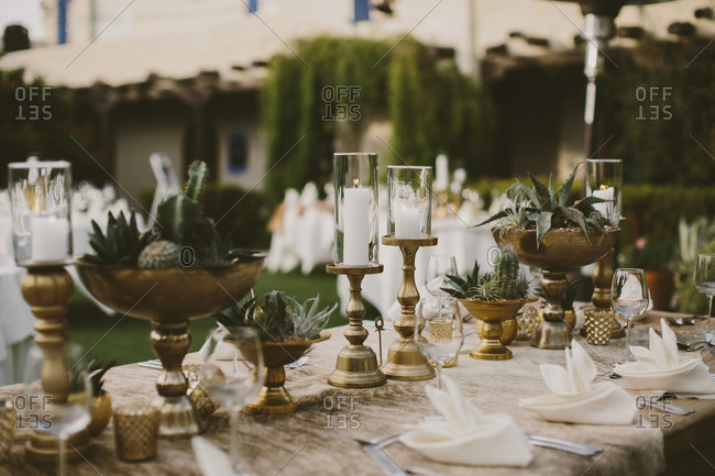 Gold and cactus Table decorations