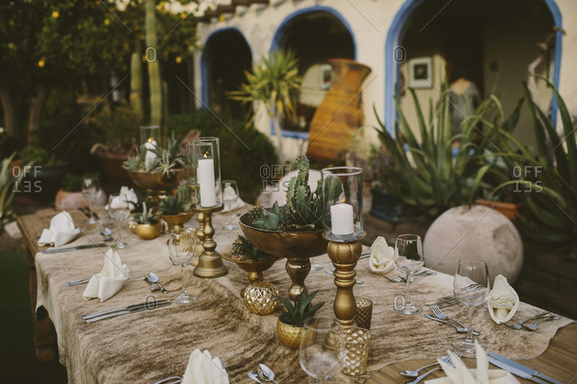Mid-western table setting in a gold and cactus theme