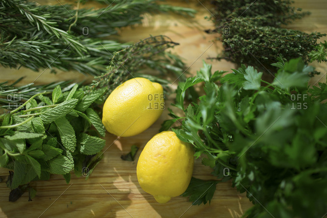 Close up of lemons and herbs