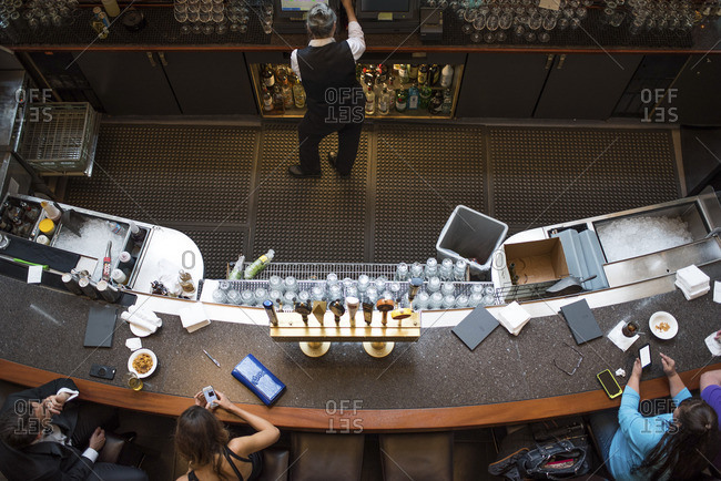 Overhead view of a bar in a restaurant