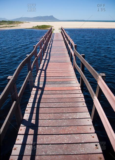 Raised boardwalk across sea
