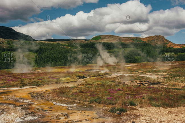 Steam from geysers in rural Iceland
