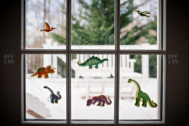 Dinosaur stickers on a window