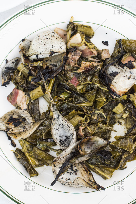 Roasted collared greens and onion dish