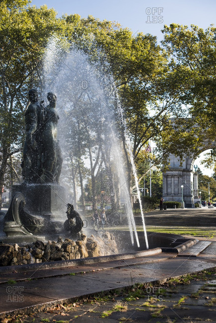 Brooklyn, New York, USA - October 21, 2015: The Bailey Fountain in Grand Army Plaza in the fall