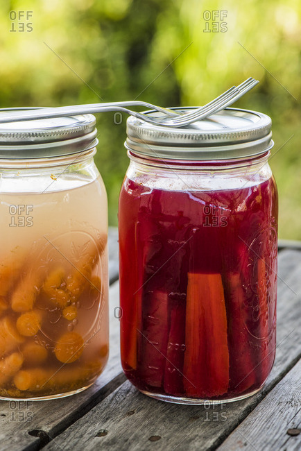 Vegetables fermented in glass jars