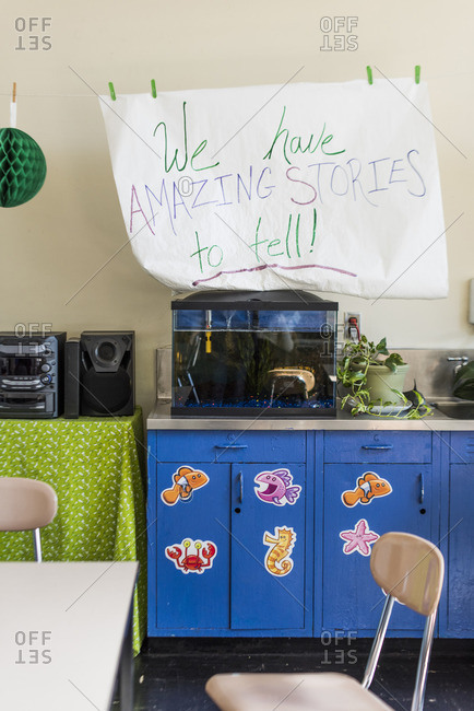Classroom with fish tank and decorations