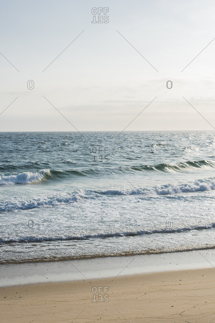 An ocean scene along beach
