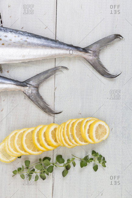 Raw fish with lemon slices on a wooden table