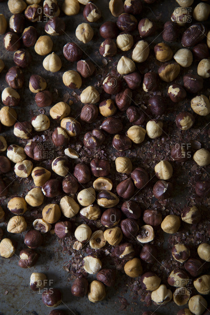 Top view of roasted hazelnut
